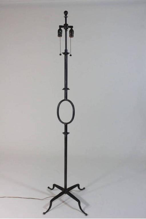 Vintage Iron Floor Lamp Attributed to Poillerat by Mattaliano with Gilt Finish 2