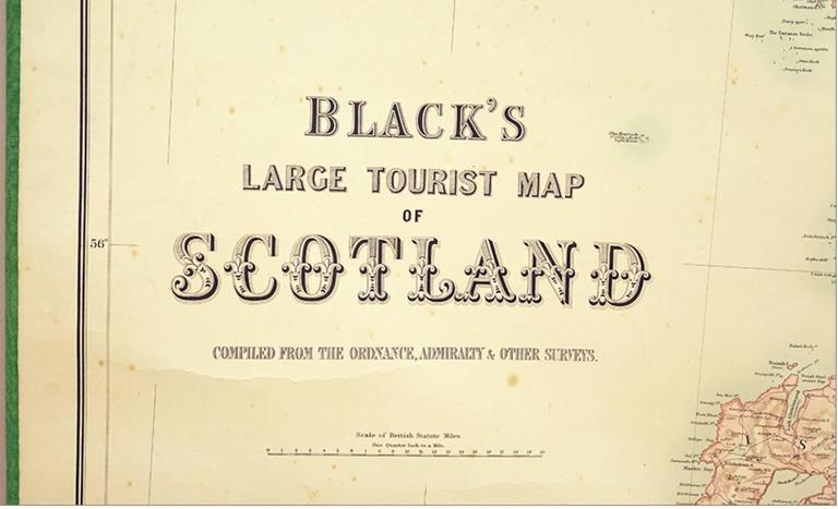 Blacks Large Tourist Map of Scotland in Retractable Mahogany Case 3