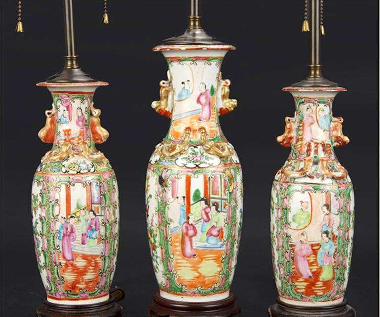 Three 19th Century Vases Mounted As Lamps.
