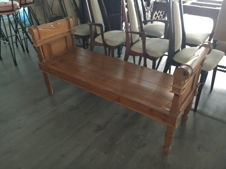 Handsome Directoire Irish pine window bench or bench for foot of bed.