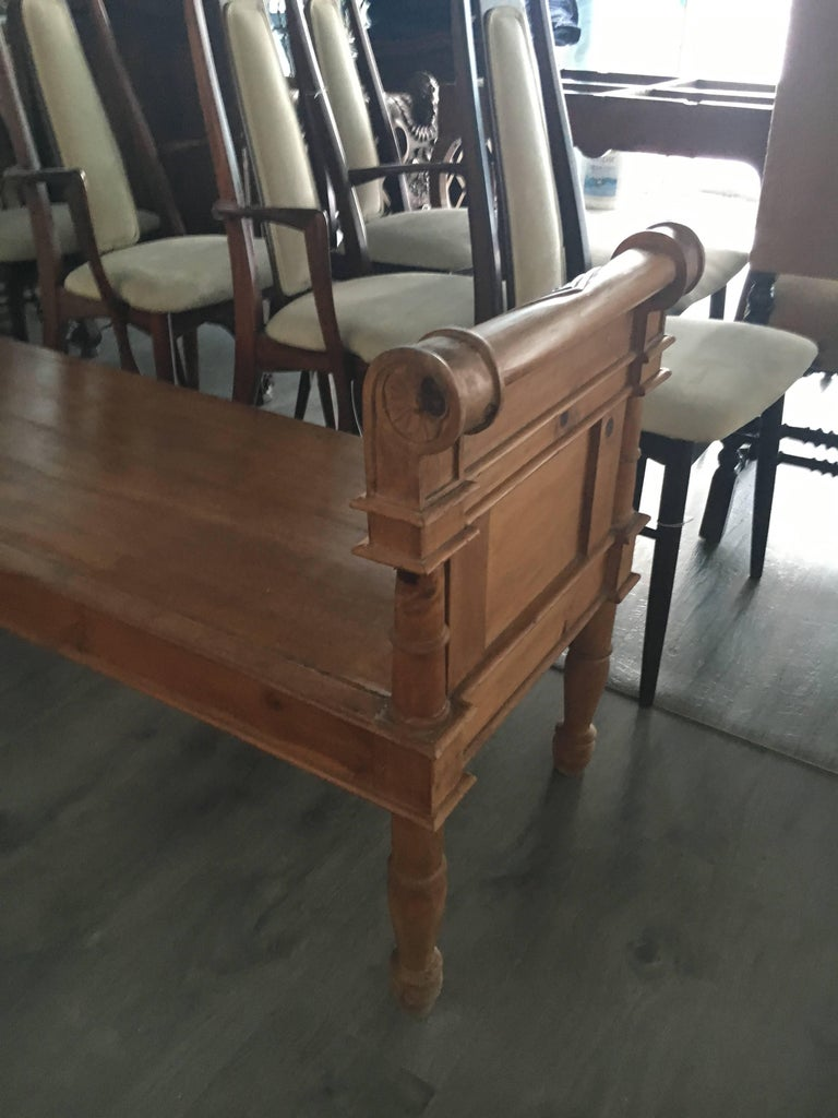 19th Century Handsome Directoire Irish Pine Window Bench or Bench for Foot of Bed For Sale