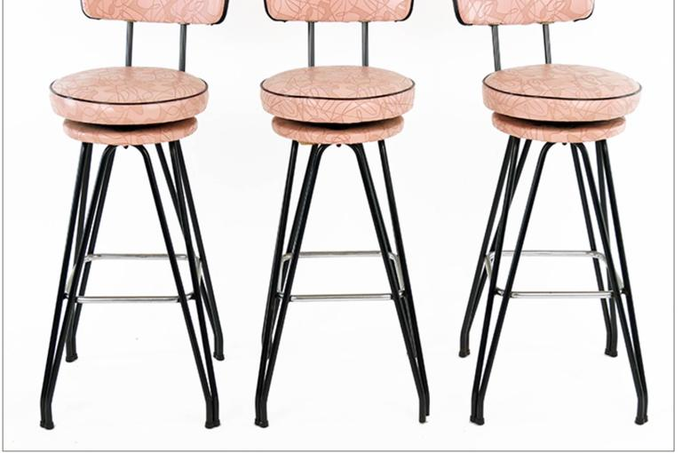 Set of Three Kitch Mid-Century Bar Stools with Pink Upholstery, Black Piping 2
