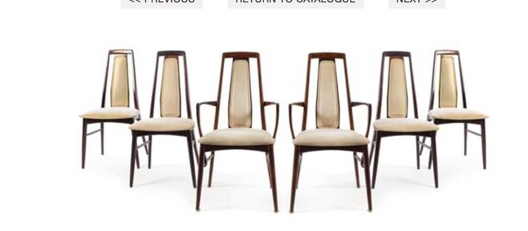 Niels Koefoed, Koefoeds Hornslet, circa 1970s, a set of six dining chairs, comprising two armchairs and four side chairs. Please confirm measurements.