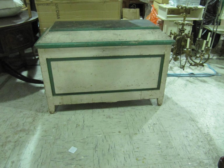 Handsome American Primative Blanket Chest with Wonderful Worn Painted Finish 2