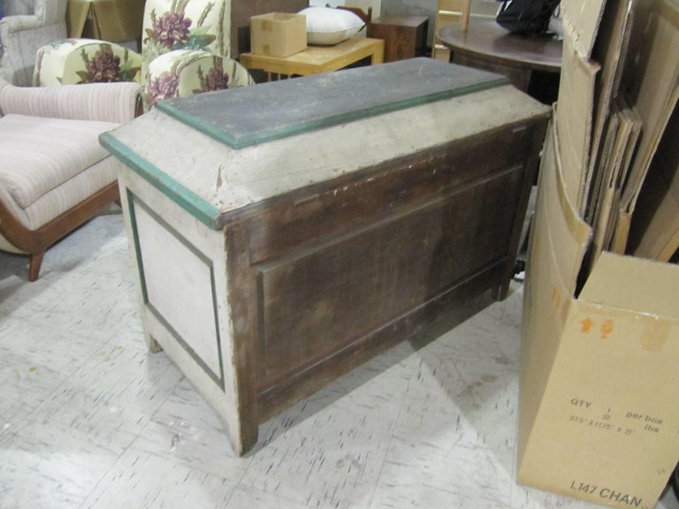 19th Century Handsome American Primative Blanket Chest with Wonderful Worn Painted Finish For Sale
