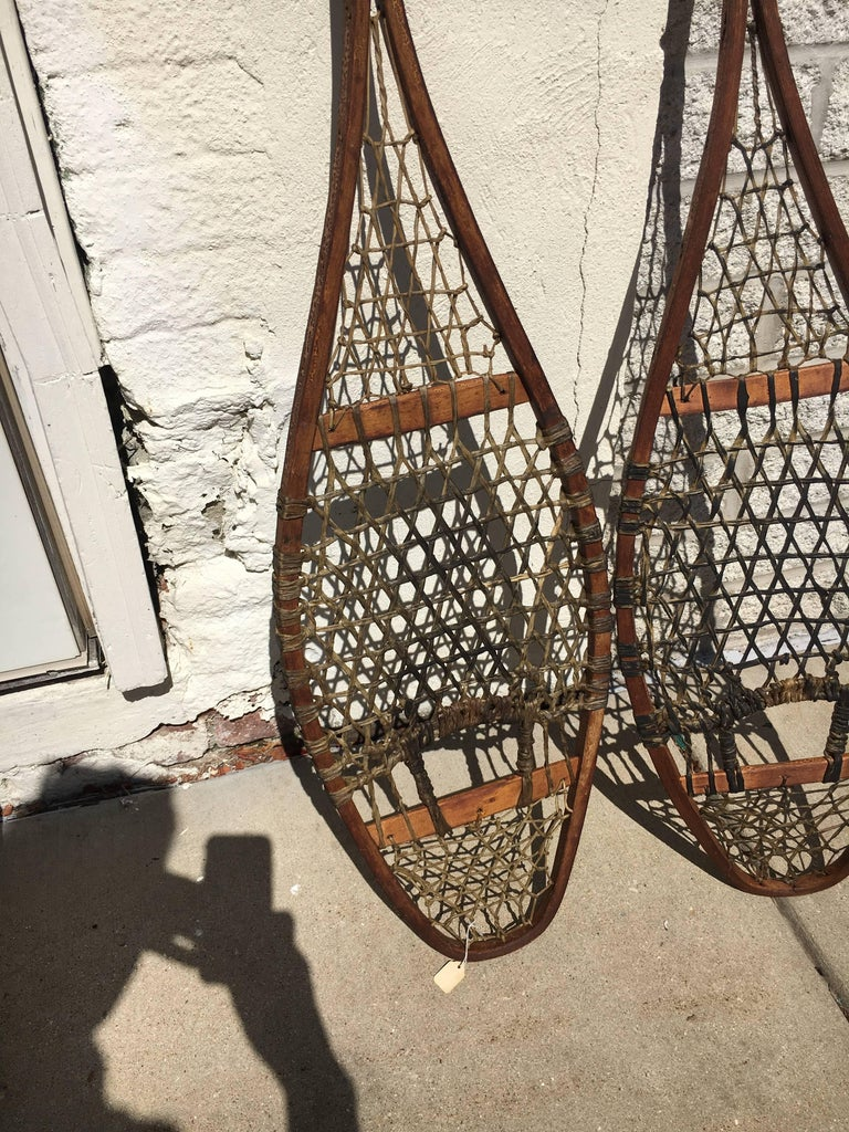 Adirondack Handsome Pair of 19th Century Snow Shoes, Great as Wall Sculpture For Sale