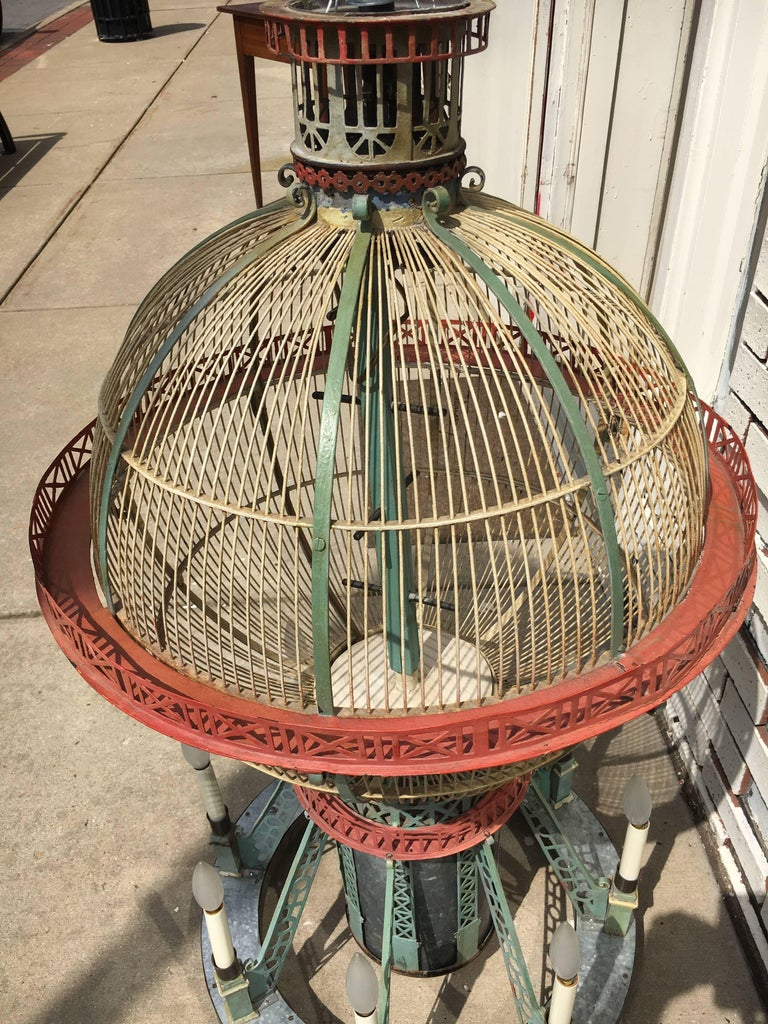 Whimsical and Fun Six-Arm Chandelier in the Form of a Hot Air Balloon / Birdcage For Sale at 1stdibs