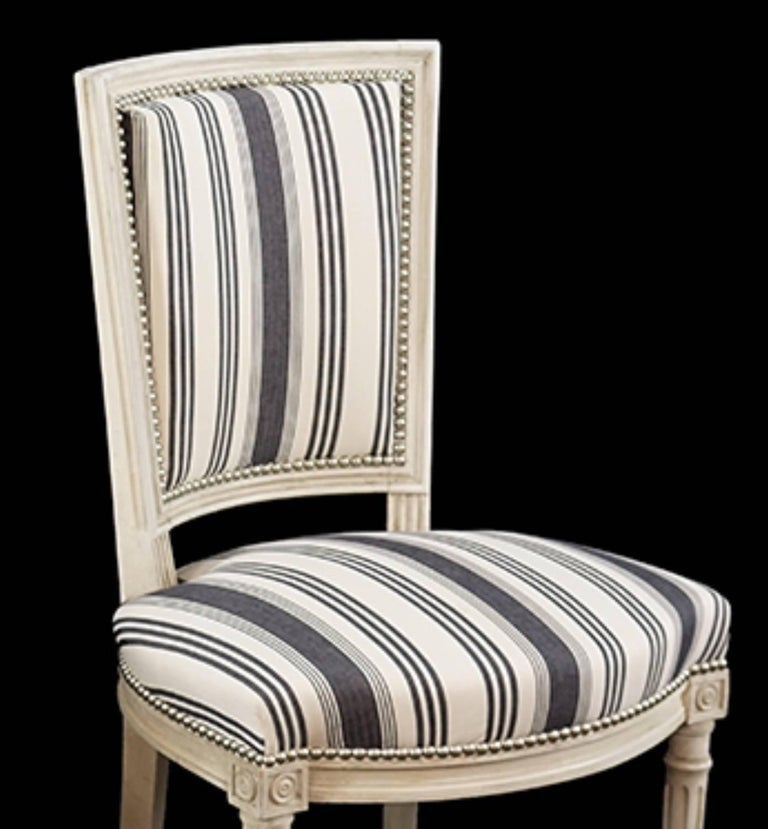 French Handsome Set of Six Louis XVI Style Side Chairs Covered in Blue and White Stripe For Sale