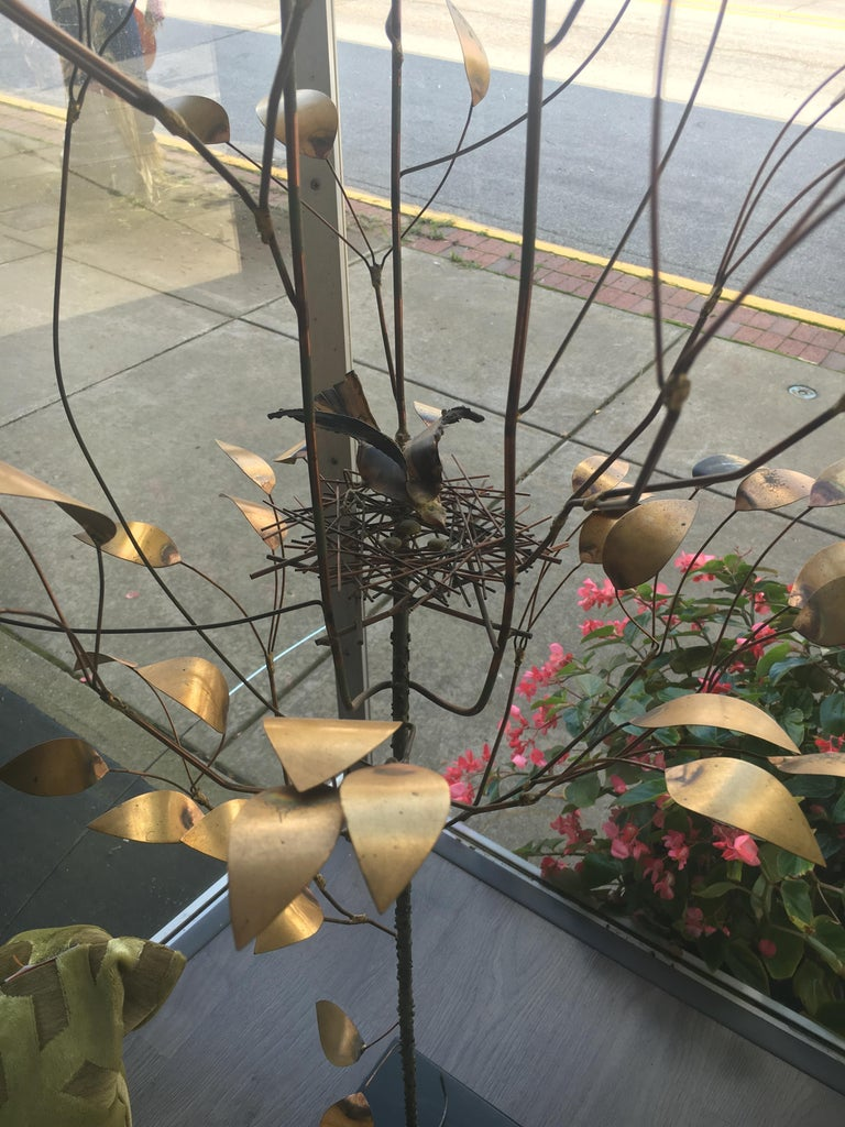 20th Century Curtis Jere, Patinated and Welded Brass Tree with a Stylized Birds Nest, Signed For Sale