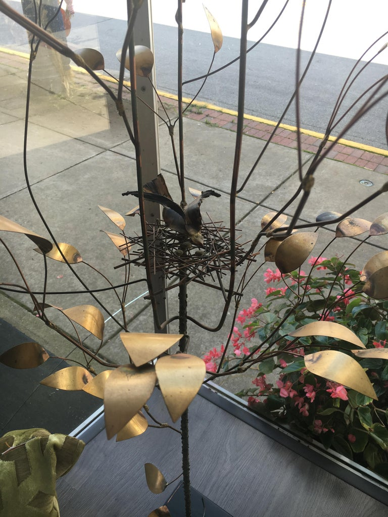 Curtis Jere, Patinated and Welded Brass Tree with a Stylized Birds Nest, Signed For Sale 1