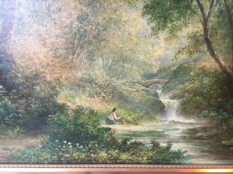 Continental School 'Late 19th century' Forest Landscape with Figure In Excellent Condition For Sale In Buchanan, MI