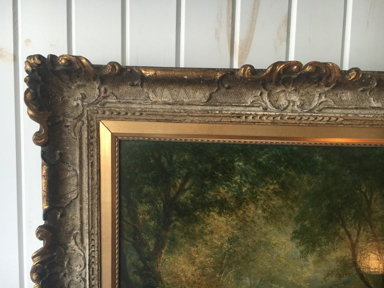 19th Century Continental School 'Late 19th century' Forest Landscape with Figure For Sale