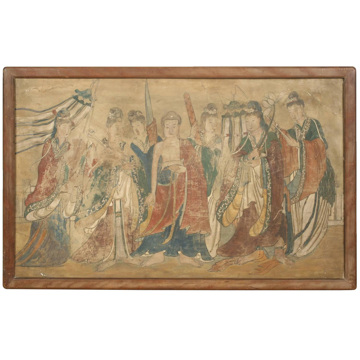 Mural painting of buddha flanked by female attendants for for Chinese mural painting