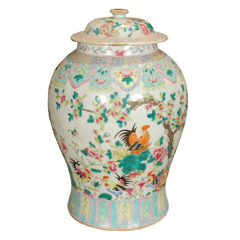 Flowering Rooster Baluster Jar For Sale