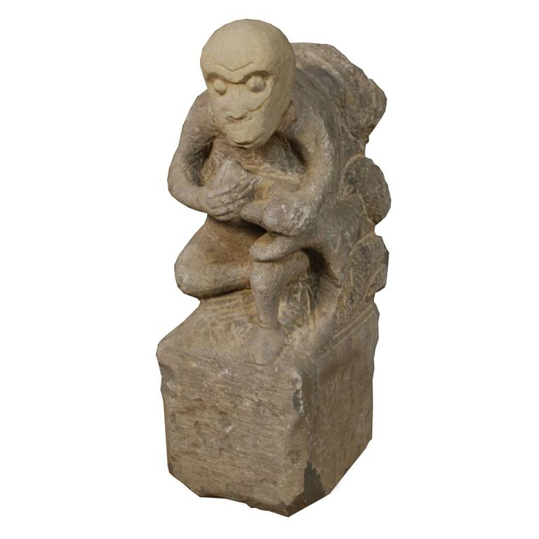 Stone monkey and peach marker for sale at stdibs