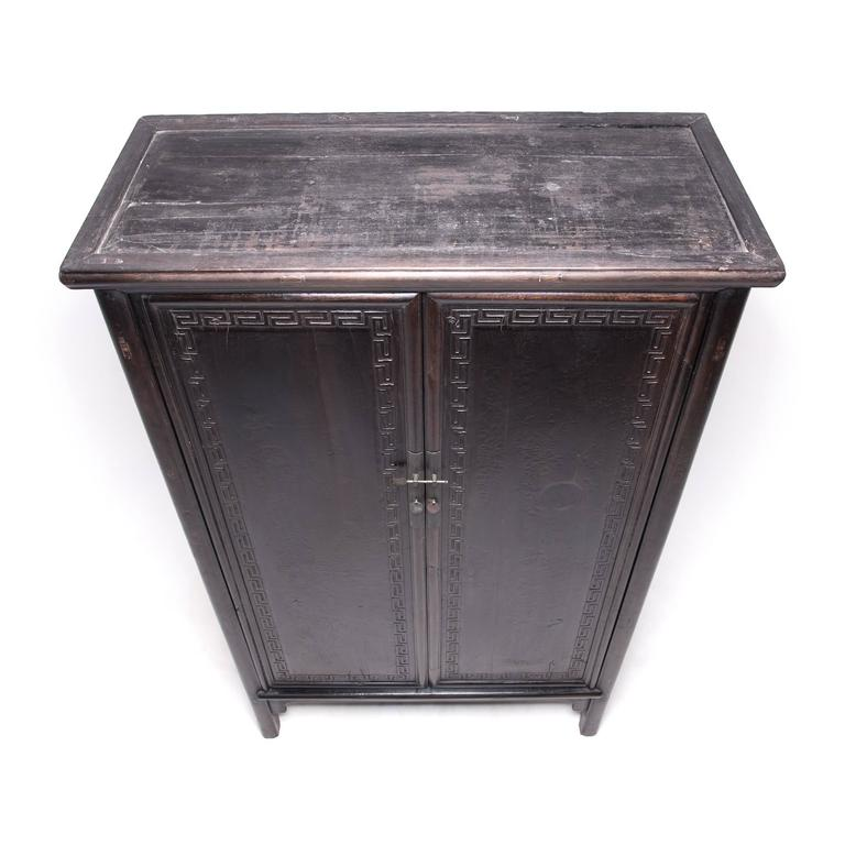 19th Century Tall Chinese Greek Key Cabinet, c. 1850 For Sale