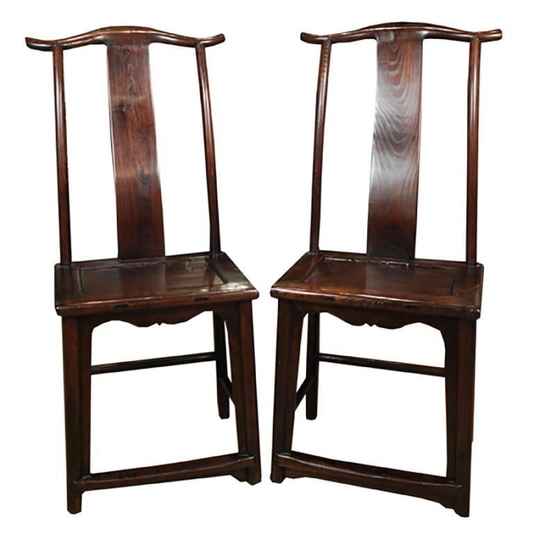 Pair of 19th century chinese elmwood emperors chairs for for Asian chairs for sale