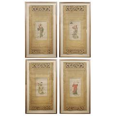 Set of Four Scholars Screen Paintings