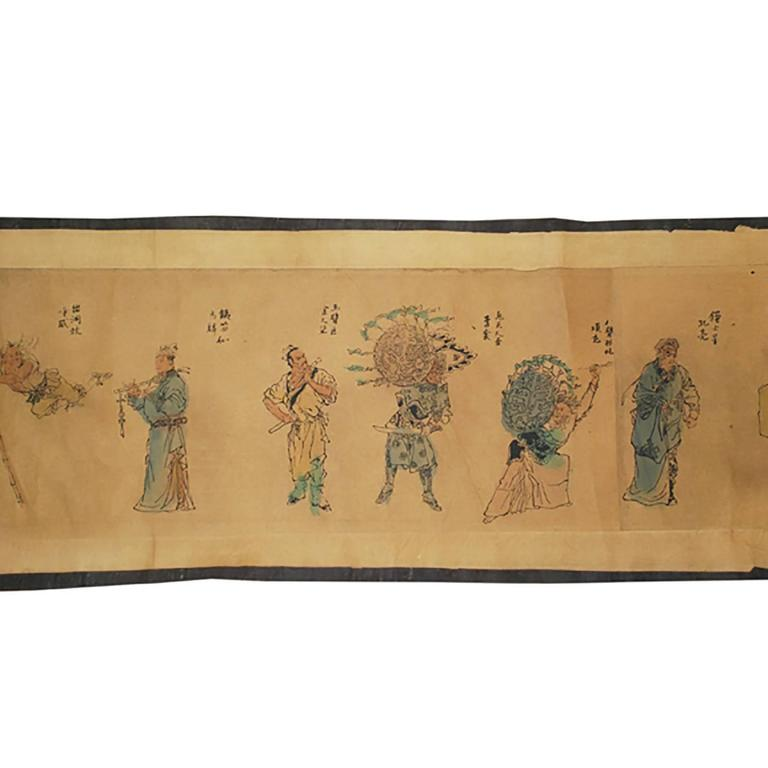This early 20th century printed and hand-colored hand scroll portrays one third of the 108 heroes from Water Margin, sometimes also know as Outlaws of the Marsh by Shi Nai'an, one of China's four great classical novels. The story takes place during