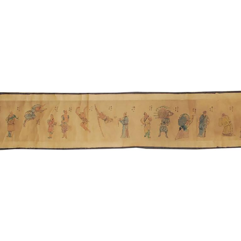 19th Century Chinese Outlaws of the Marsh Hand Scroll In Good Condition For Sale In Chicago, IL