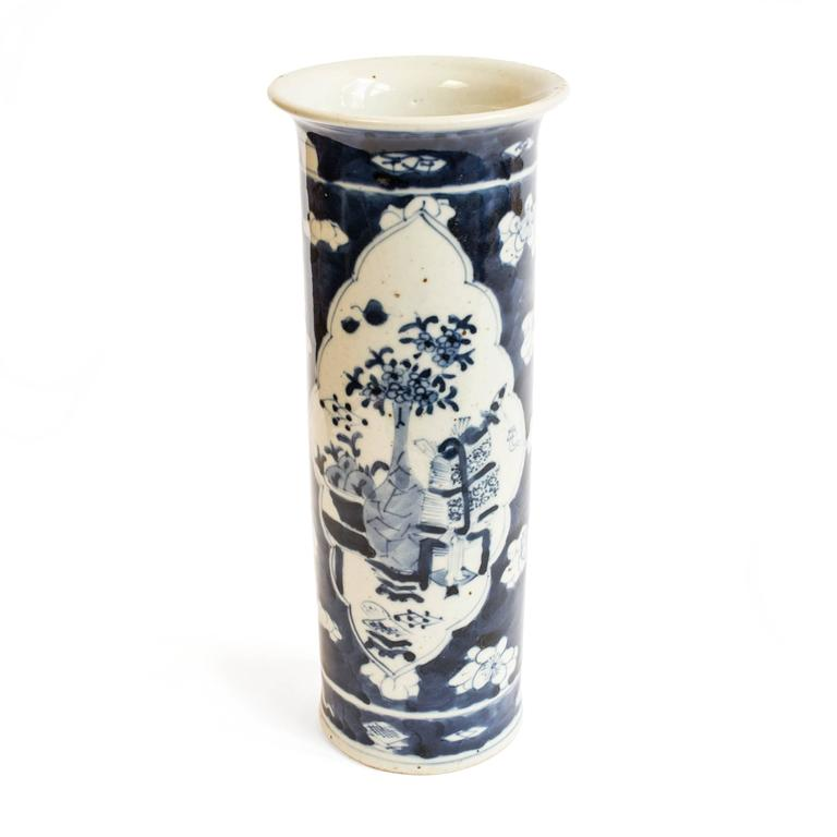 Republic Period Chinese Blue and White Vase with Flared Rim 6