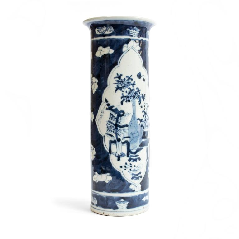 Republic Period Chinese Blue and White Vase with Flared Rim 2