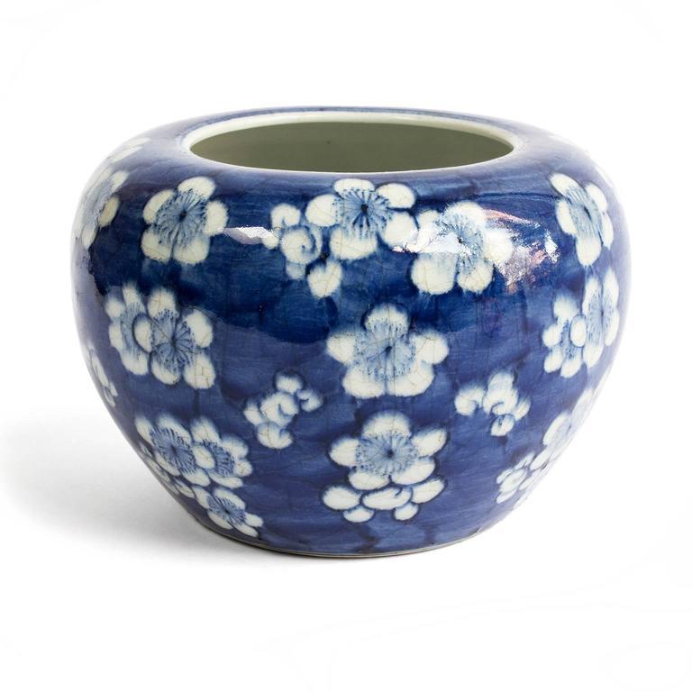 19th Century Chinese Blue and White Prunus Blossom Porcelain Brush Washer 2