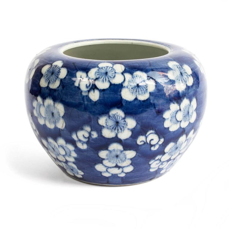 19th Century Chinese Blue and White Prunus Blossom Porcelain Brush Washer 4