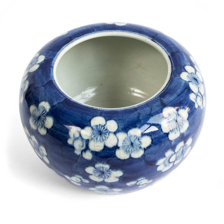 19th Century Chinese Blue and White Prunus Blossom Porcelain Brush Washer 5