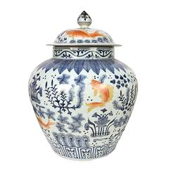 Chinese Blue and White Covered Jar with Fish and Flora
