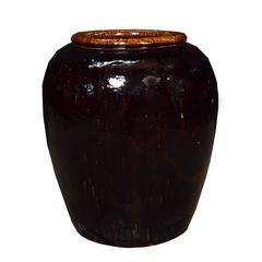 Monumental Chinese Cocoa Glazed Jar
