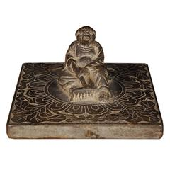 Chinese Stone Shoemaker's Weight with Pig God