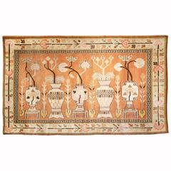Antique Pictorial Samarkand Carpet with Vases and Blossoms
