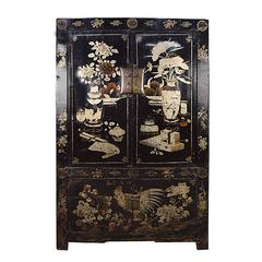 Chinese Four-Door Black Lacquer Rooster Scholars' Cabinet