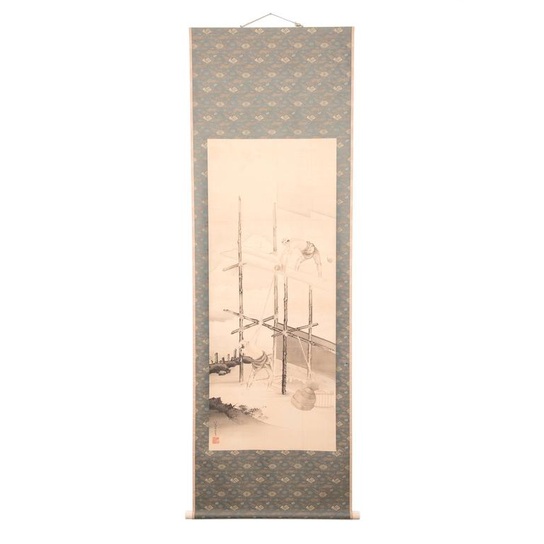 Early 20th Century Japanese Laborers Scroll 1
