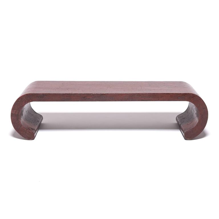 Contemporary Chinese Red Lacquer Ribbon Table For Sale