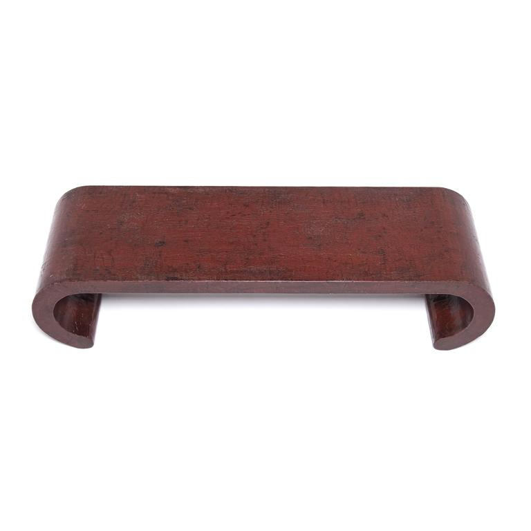 Elm Chinese Red Lacquer Ribbon Table For Sale