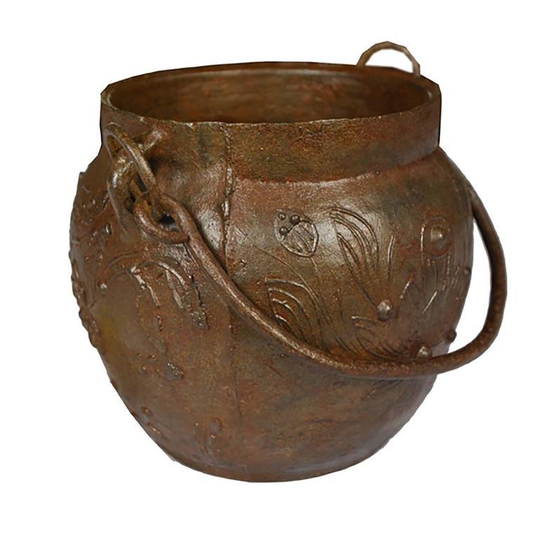 Chinese Lotus Cast Iron Apothecary Jar 2