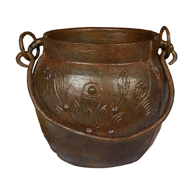 Chinese Lotus Cast Iron Apothecary Jar For Sale