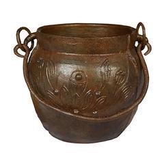 Chinese Lotus Cast Iron Apothecary Jar