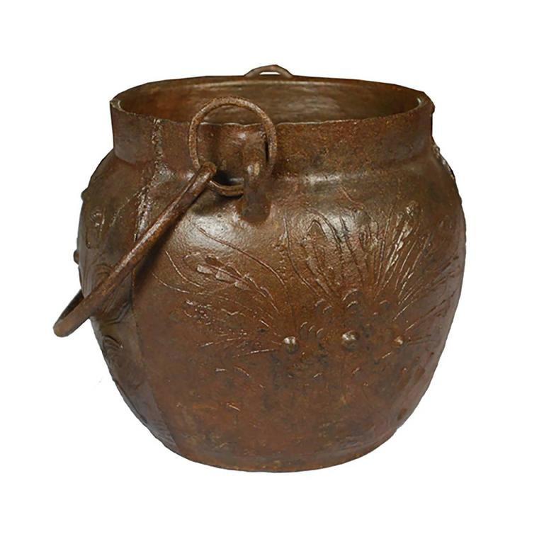 Chinese lotus cast iron apothecary jar for sale at stdibs