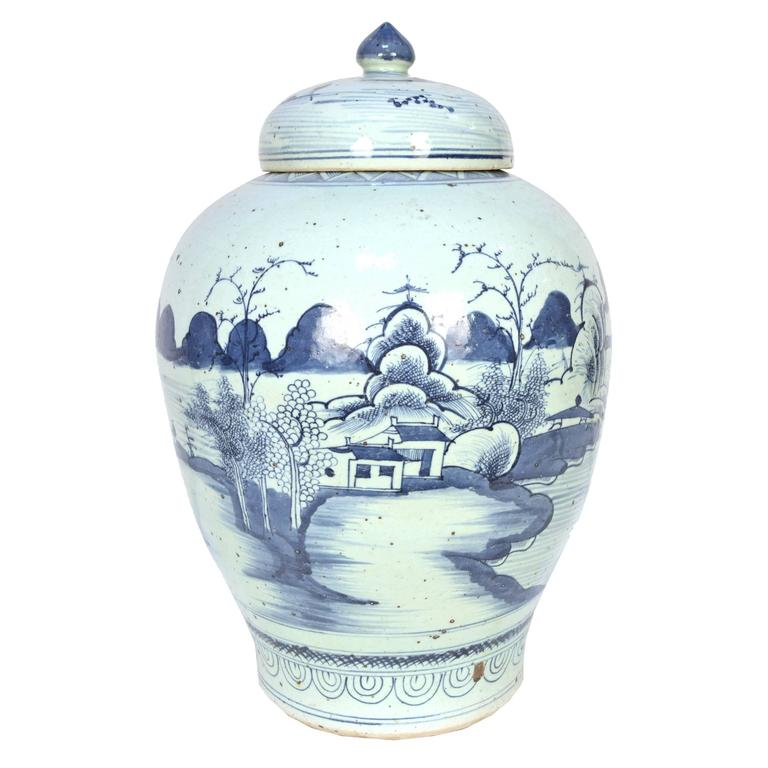 Chinese Provincial Blue and White Tea Leaf Jar 1