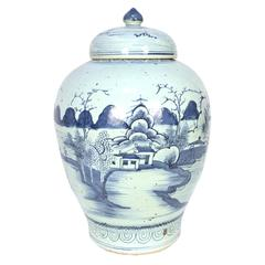 Chinese Provincial Blue and White Tea Leaf Jar