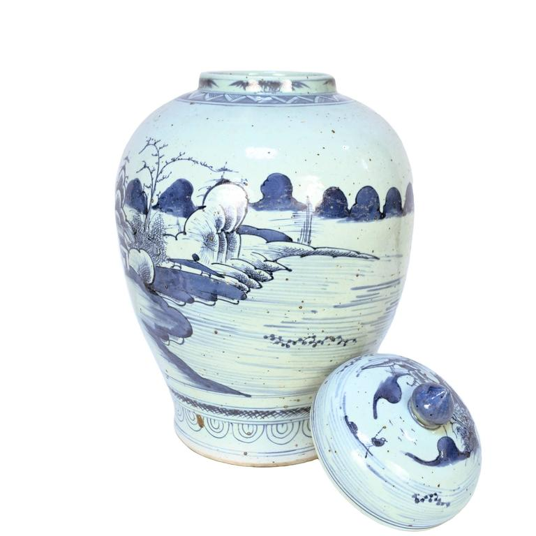 Chinese Provincial Blue and White Tea Leaf Jar 4