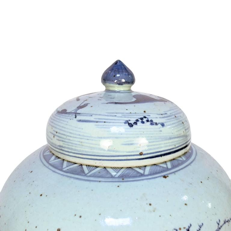 Chinese Provincial Blue and White Tea Leaf Jar 5