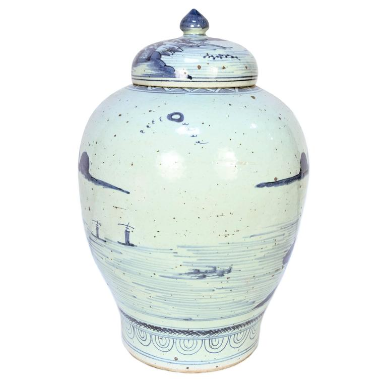 Chinese Provincial Blue and White Tea Leaf Jar 2