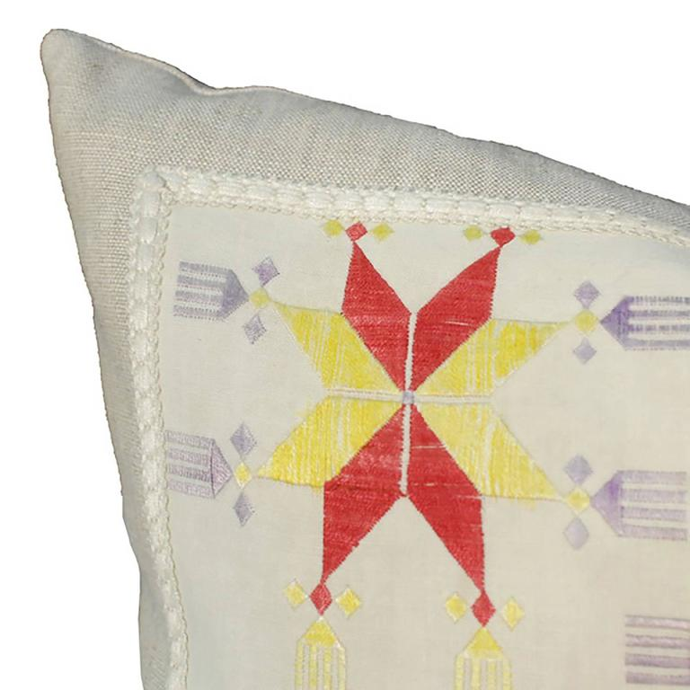 Pillow Created from Early 20th Century Central Asian Embroidery 3