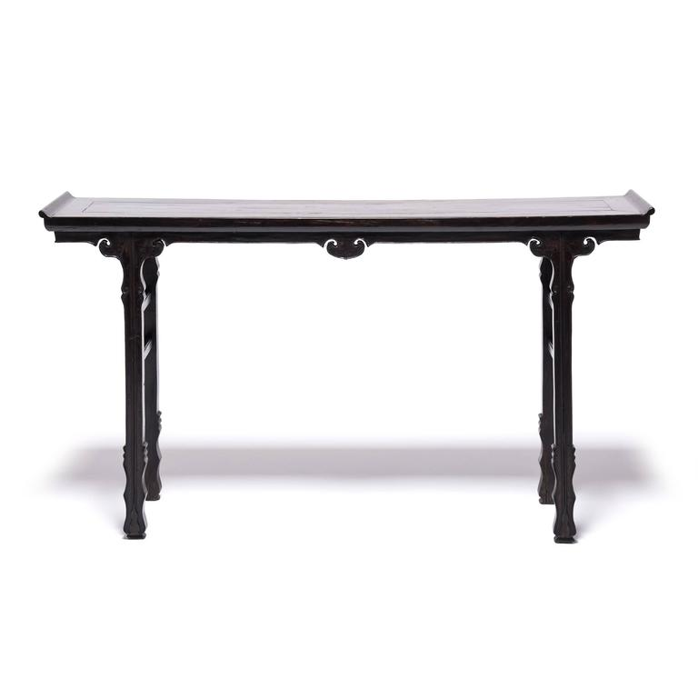 19th Century Chinese Shallow Sword Foot Altar Table with Ruyi Medallion 4