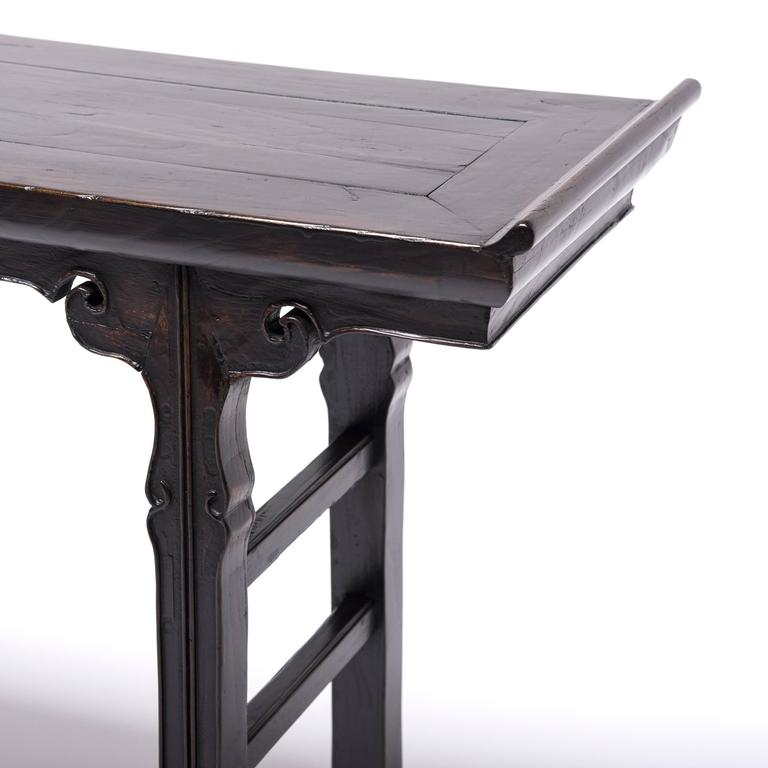 19th Century Chinese Shallow Sword Foot Altar Table with Ruyi Medallion 6