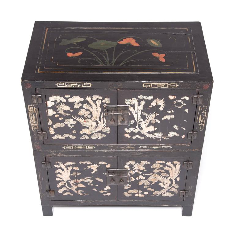 19th Century Pair of Chinese Cloud and Phoenix Painted Chests For Sale